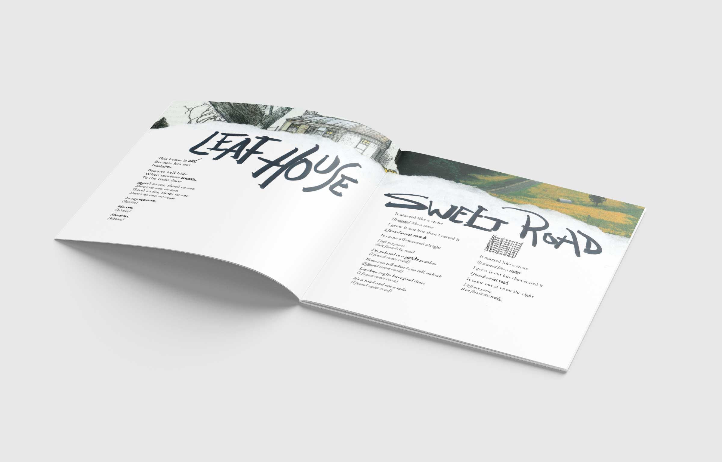 Photo of a spread for lyrics of two songs, Leaf House and Sweet Road by Animal Collective. Spreads show combination of collages, hand warped words, and hand drawn titles.