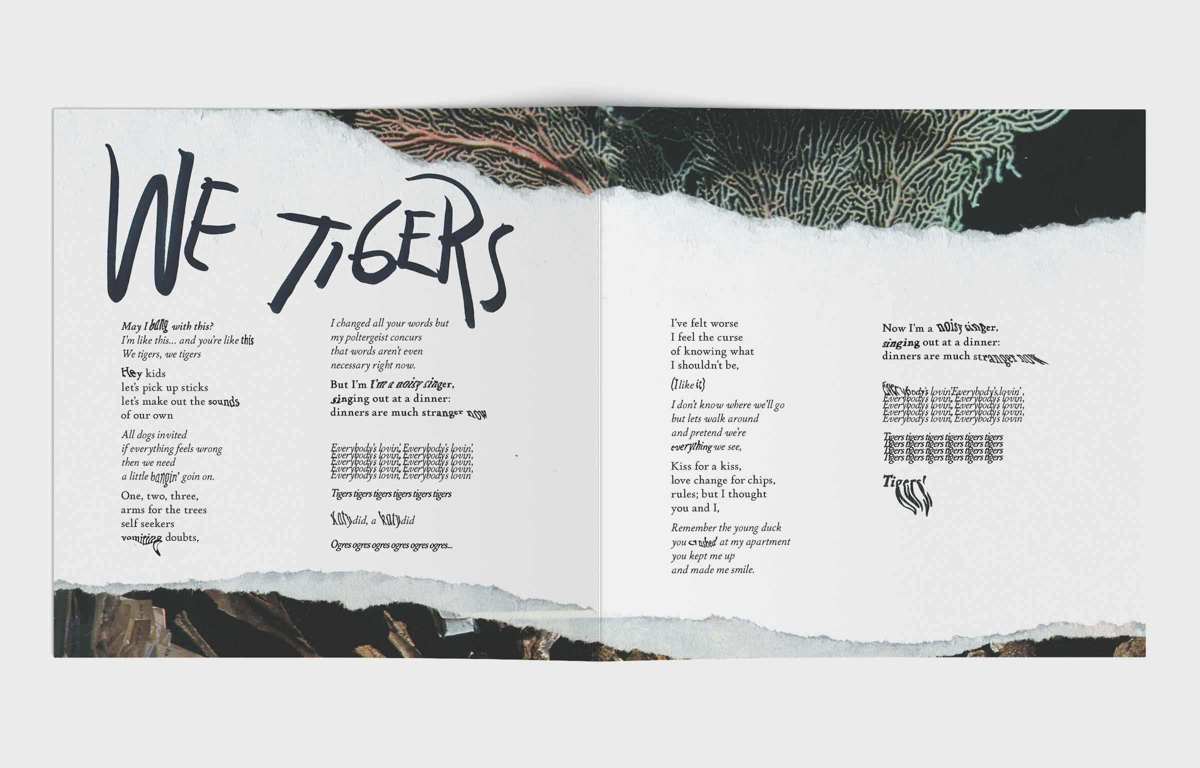 Photo of a spread for lyrics of We Tigers by Animal Collective. Spread shows combination of collages, hand warped words, and hand drawn titles.
