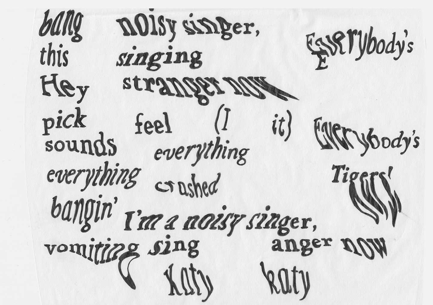 Scan of several warped words, hand drawn