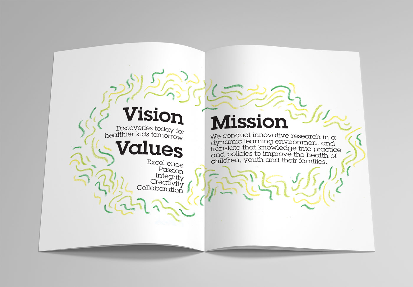 Vision, Values, and Mission section spread