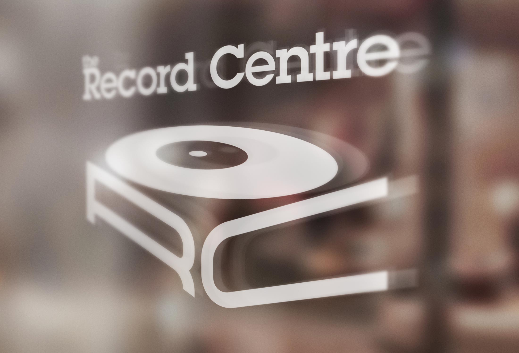 Logo for the Record Centre on a shop window